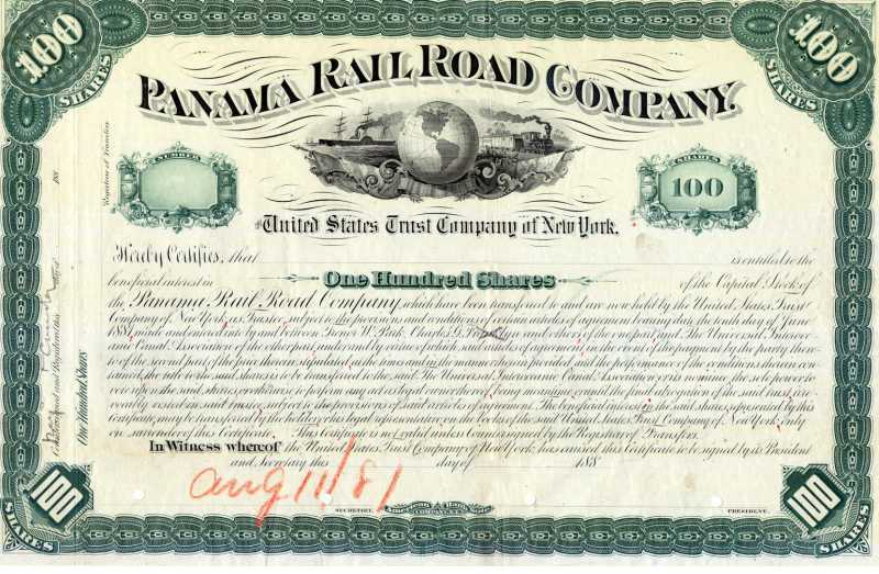 Stock Certificates Of The Panama Railroad